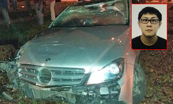 Mr Xie Zhi Hao (right inset) is believed to have lost control of the Mercedes and crashed. The accident left him dead and three passengers with injuries.