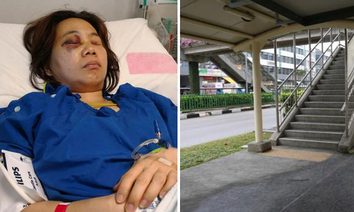 Ms Wu remains warded for her injuries (left) following the accident that happened on the pedestrian pathway (right).