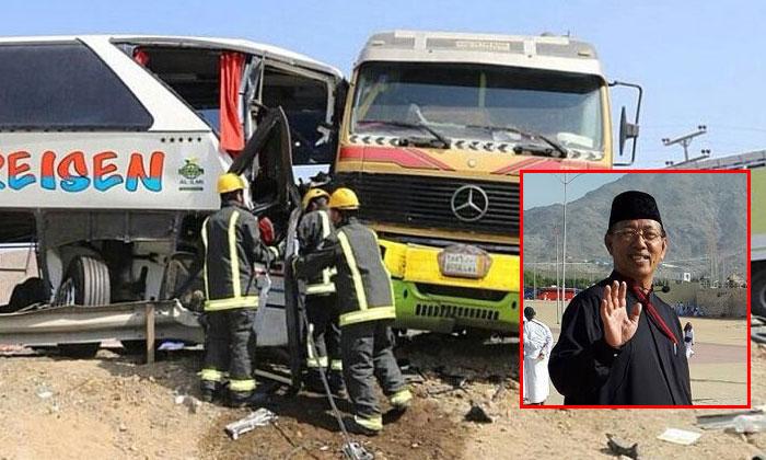 Haji Mohammad Abu Bakar Osman(inset) was killed in a bus accident in Mecca while on a minor pilgrimage (umrah).PHOTOS: ABU BAKAR TRAVEL SERVICES PTE LTD/FACEBOOK, BERITA HARIAN READER