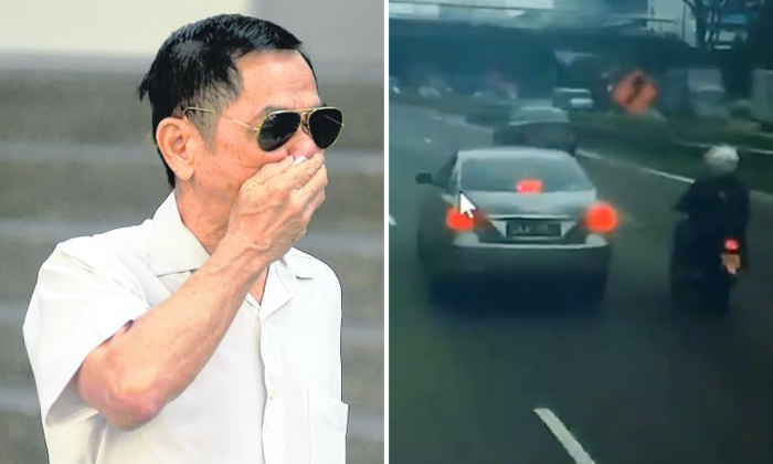 Ho Loong Chan (left), 65, kept veering close to the bike and applying the brakes to his Toyota Camry intermittently and at one point, even forced the rider onto the road shoulder before getting ahead of him and abruptly slamming his brakes. Photos: The Straits Times, Stomp