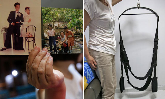 Madam Gao showing her family photos (left) and a sex toy allegedly left by her husband (right). Photo: Shin Min Daily News