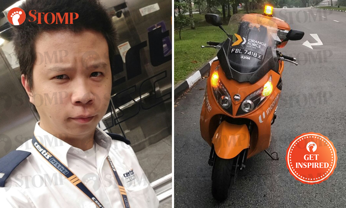 Stomper You Jun (left) and a Orange Force Rider responded to an accident scene along Yio Chu Kang Road on April 7.