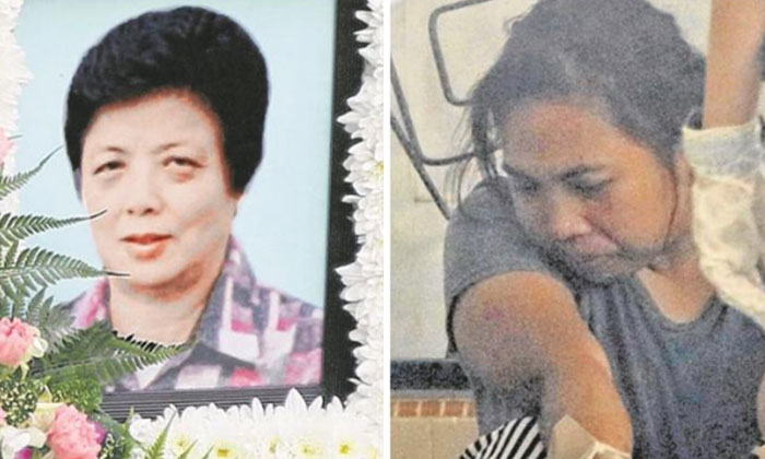 Madam Tay, 77, was fatally stabbed in the neck by Minah for nagging at her. PHOTO: LIANHE WANBAO