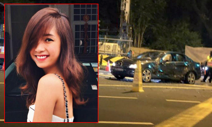 Ms Jasmine Lim (inset) died from her injuries after the car she was travelling in collided with a bus. Photos: Facebook, The Straits Times