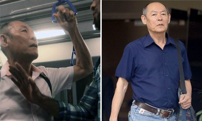 Gan Thean Soo, 71, committed the offences in a train heading towards Farrer Park station at around 8.15pm on April 19 last year. PHOTOS: FACEBOOK/JOE DEMARINI, WONG KWAI CHOW