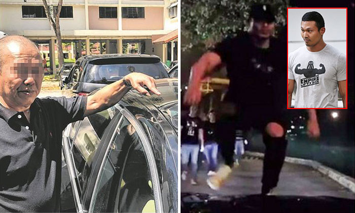 Mr Koh Poh Choh (left) pointing out the damages on the roof of his car after Chee Chu Siong (right) climbed on it. PHOTO: LIANHE WANBAO