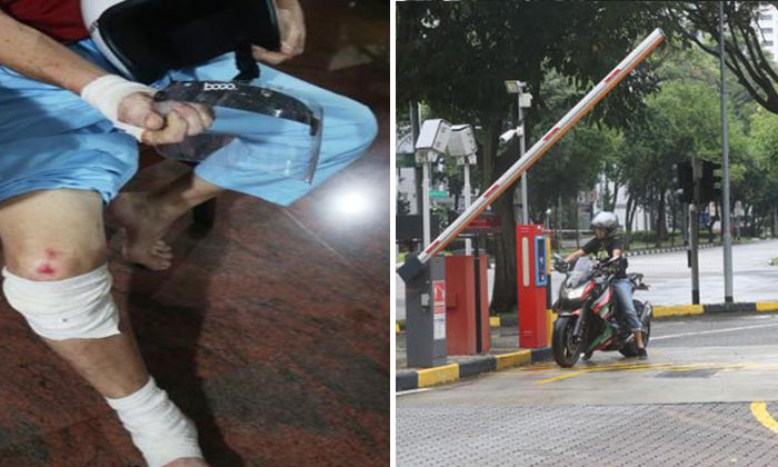 Mr Chen (left) suffered multiple bruises following the incident. PHOTO: LIANHE WANBAO
