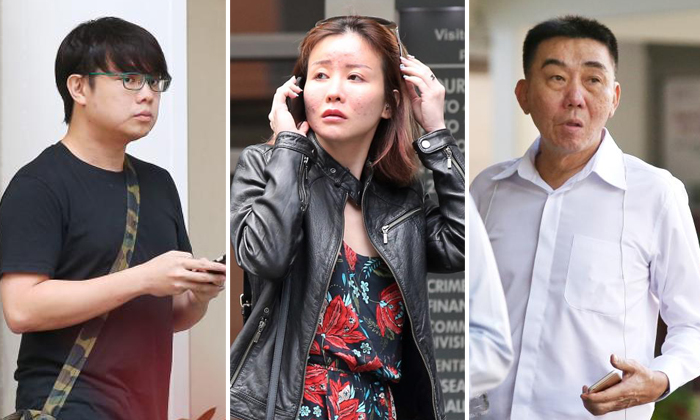 Joshua Koh Kian Yong (left) had his face slashed by an alleged hitman. His girlfriend Audrey Chen Ying Fang (center) was financially supported by businessman Lim Hong Liang (right). Photos: The Straits Times