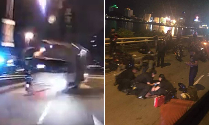 Left: Video screengrab showing a lorry hurtling towards a motorcyclist. Right: Paramedics attending to victims at the scene. Photos: Facebook