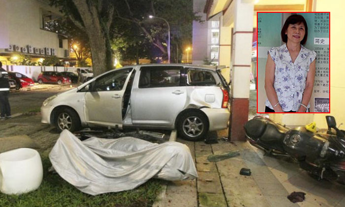 An inquiry into the death of Madam Ng Siew Fong (right inset) revealed that the front left tyre of the vehicle ran over her when she fell to the ground. She died from a head injury. PHOTO: SHIN MIN DAILY NEWS