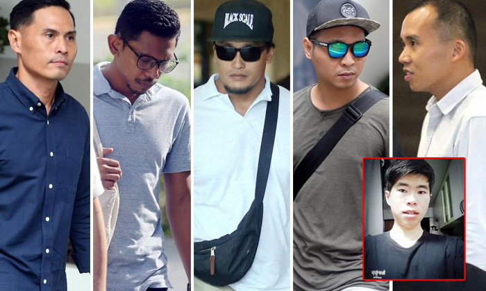 The five SCDF personnel charged on July 25 (from left to right) Nazhan Mohamed Nazi, Mohamed Farid Mohamed Saleh, Mohammad Nur Fatwa Mahmood, Adighazali Suhaimi and Kenneth Chong Chee Boon. Photo: ST