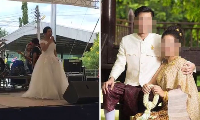 A video clip posted on Facebook shows the bride thanking relatives and friends for attending her wedding ceremony (left). Jutathip Nimnual, 24, had been due to marry Phakin Junjerm, 20 (right).