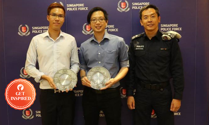 Mr Justin Law and Mr Song Wei Zong with AC Koh. Photos: Singapore Police Force