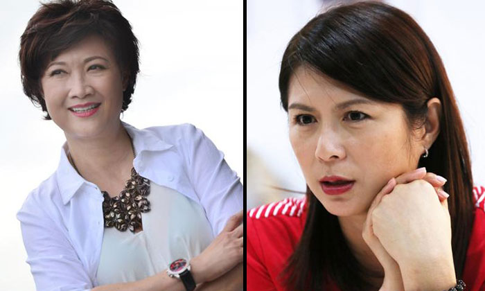 Hong Huifang (left) said that the feud between her and Pan Ling Ling (right) is a private matter. PHOTO: LIANHE WANBAO