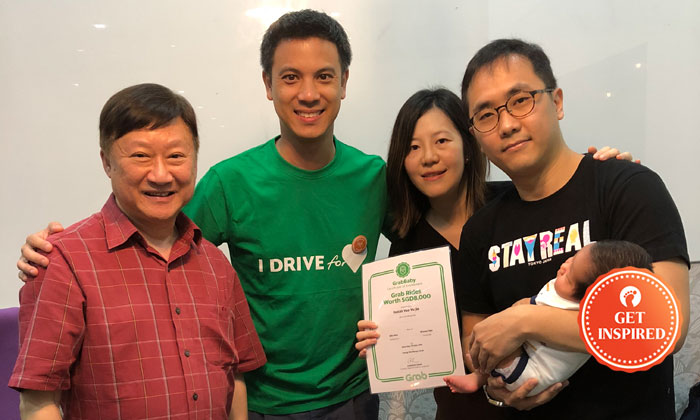 (Left to right): Grab driver Mr Yeong, Andrew Chan (Head of Transport, Grab Singapore), Ida Nee and Shawn Yeo with baby Isaiah.