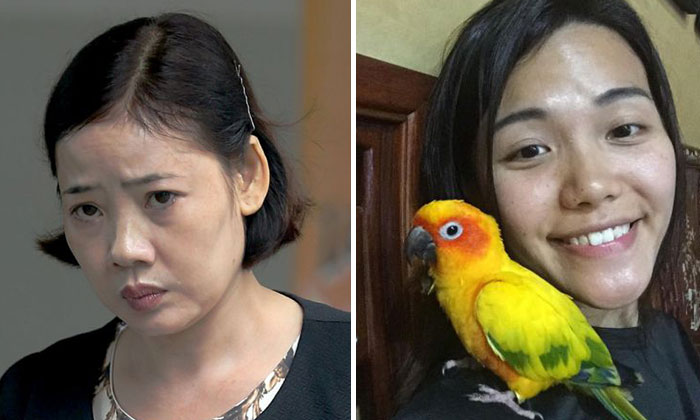 Tran Thi Thuy Hang (left) bludgeoned Ms Yu Mei Ling's (right) parrot, Lucky, to death with a bamboo pole before tossing it down a rubbish chute. PHOTO: THE STRAITS TIMES
