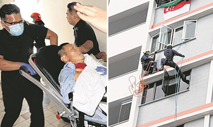 The man sported a gauze around his neck which was stained with blood. PHOTO: LIANHE WANBAO