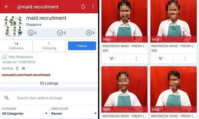 Faces of maids, allegedly from Indonesia, were posted in Carousell listings put up by user @maid.recruitment. PHOTO: SCREENGRAB FROM CAROUSELL