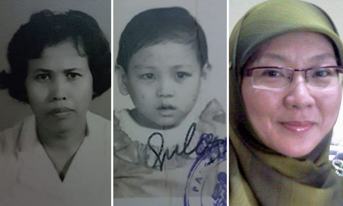 Photo: Adoptive mother, HabsahBinteMasagosOmar (left), Madam Zahara then(centre), Madam Zahara now (right)