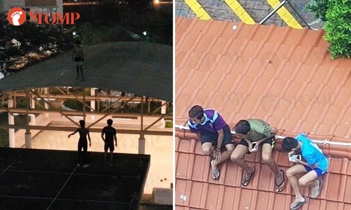 Youths 'lepak' on roof of sheltered walkways in Telok