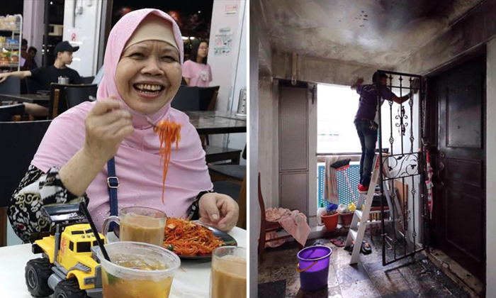Madam Maimon Sharif (left) died in her Punggol flat after a fire broke out. PHOTOS: THENEW PAPER, THE STRAITS TIMES / GAVIN FOO, FACEBOOK / HAFIZAL MOHAMAD TAHIR