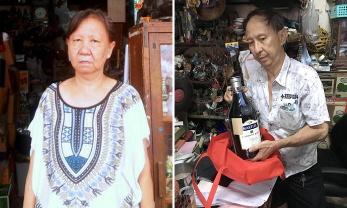 Madam Irene Yeo (left), 58, the store owner of Yeo Buan Heng Liquor Shop, had previously helped bandage the wound of one of the youth who broke into her store. Mr John Yeo, 59, works at the shop with his sister. Photos: David Sun / The New Paper