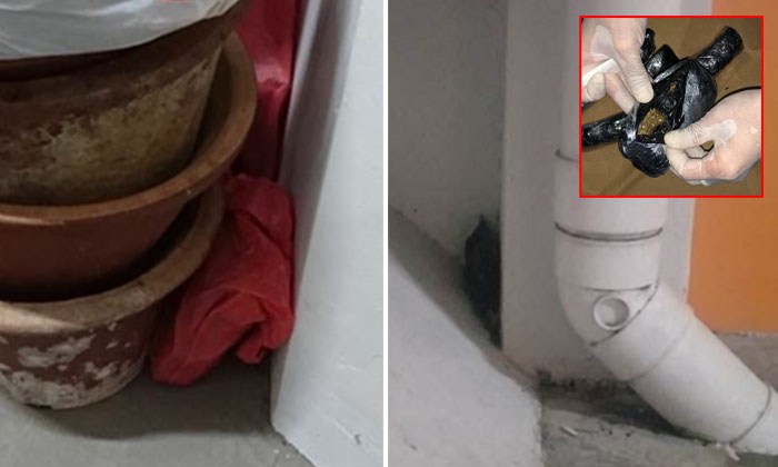 Red plastic bag hidden at 7th floor lift landing area (left) at Marsiling Lane and drugs hidden behind a pipe, at a multi-storey carpark at Marsiling Drive (right). PHOTOS: CNB