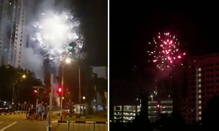 Illegal fireworks set off at Little India (left) and Yishun (right).