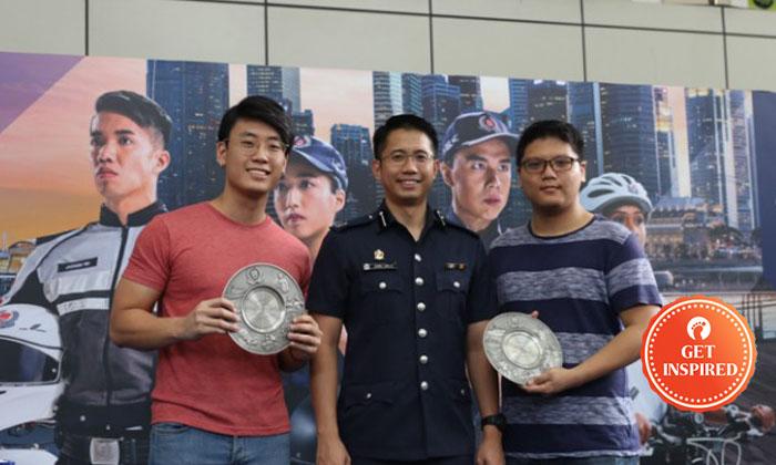 From left: Mr Chow Jin Jun, DAC Chong Zunjie, Mr Wong Jing Hao