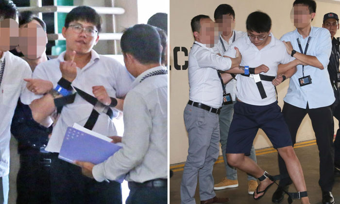 Toh Xin Ann was seen struggling with police officers after being taken back to the crime scene. PHOTOS: SHIN MIN DAILY NEWS