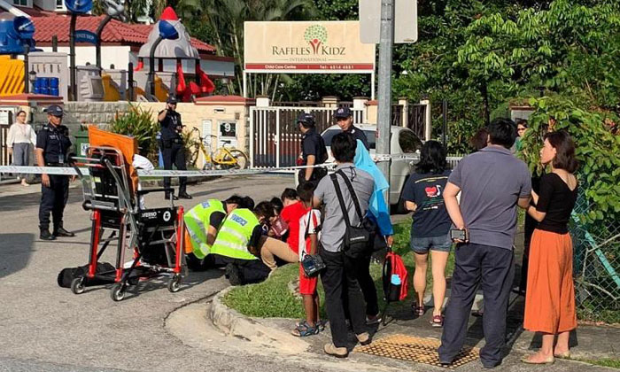 A 40-year-old man was allegedly knocked down by a car leaving the premises of Platinium Dogs Club. TNP PHOTOS: GAVIN FOO, TNP READER
