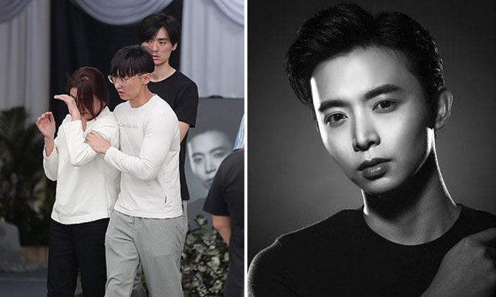 Actor Aloysius Pang's mother with other family members at his wake in MacPherson Lane (left). Mr Jefferson Pang, the actor's eldest brother, said in his eulogy that their mother doted on Aloysius a lot because he was the youngest. ST PHOTO: KELVIN CHNG