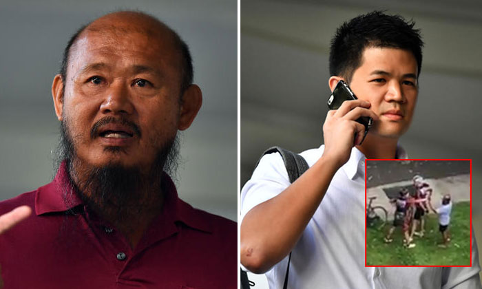 Lorry driver, Teo Seng Tiong, (left) and cyclist, Eric Cheung, who were involved in an altercation in Pasir Ris, leaving the State Courts, on Jan 16, 2019.ST PHOTOS: LIM YAOHUI
