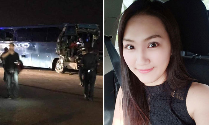Ms Mok was killed after the bus she was in collided into the railings near the Tuas checkpoint at about on Tuesday morning. PHOTOS: FACEBOOK
