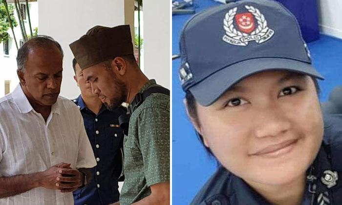 Minister K Shanmugam with Mr Indra Shaiful (left), Madam Salinah's(right) husband.