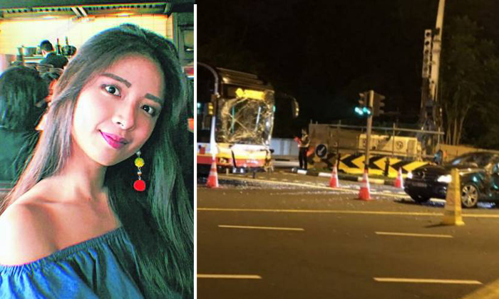 Ms Jasmine Lim, 23, was seated in the back of her friend's car when it collided with an SMRT bus at a Bukit Timah traffic junction in the early hours of April 22 last year. She was taken to the National University Hospital, where she died of a head injury. Photos: Instagram, Poon Chian Hui