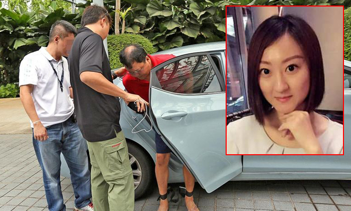 Leslie Khoo Kwee Hock (in red) is accused of strangling Ms Cui Yajie in his wife's car, then burning Ms Cui's body. Photos: Shin Min Daily News, Facebook