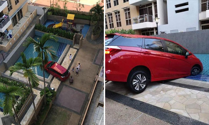 The red car could have driven over several metres of a grass patch and onto a pedestrian path before entering the swimming pool. PHOTOS: FACEBOOK/ROADS.SG, SHEN XING CHEN