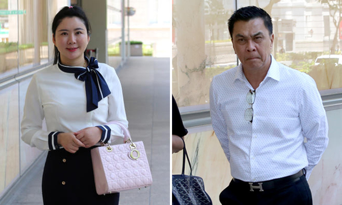 Property agent Angelina Jiang, 33, has produced chat messages to argue that the money was a gift to her that businessman Toh Eng Tiah, 55, was not entitled to reclaim. PHOTOS: LIANHE ZAOBAO