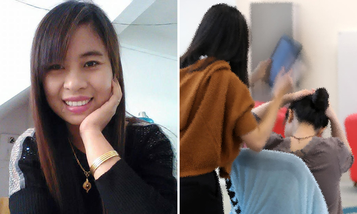 A 34-year-old woman (left) was charged on Jan 18 with voluntarily causing grievous hurt by dangerous weapon after allegedly attacking her employer. Photos: Facebook, illustration
