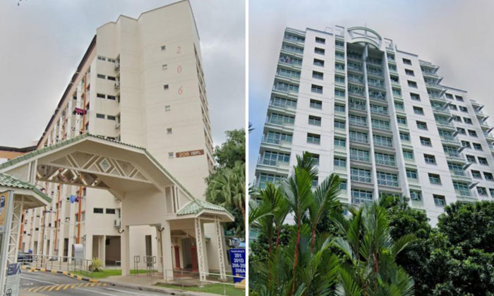 A woman was found at the void deck of Block 206 Tampines Street 21 and a man, believed to be the assailant, was found at Block 205A Punggol Field. PHOTOS: SCREENGRAB FROM GOOGLE MAPS