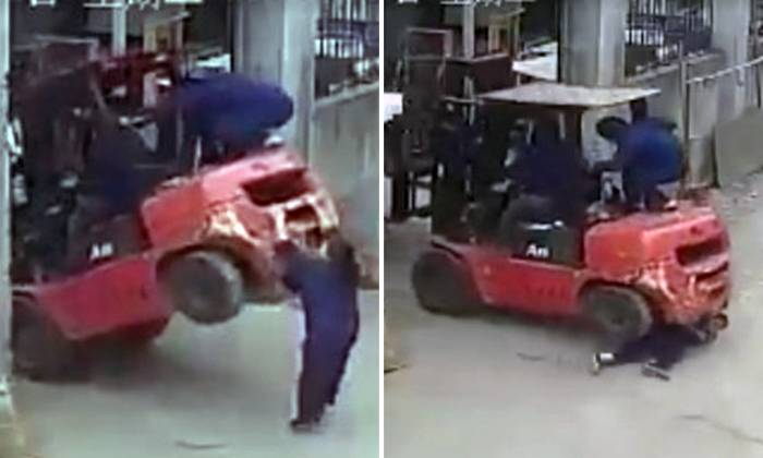 Shocking Video Shows Forklift Almost Toppling Before Landing On And Crushing Woman Who Was Trying To Help