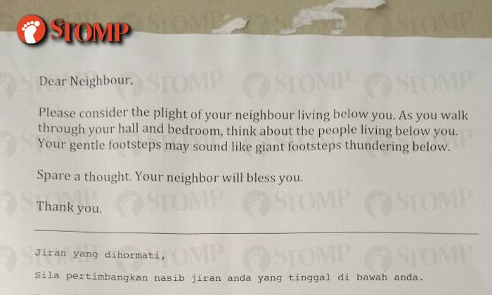 Pasir Ris resident leaves note about neighbour's 'thunderous
