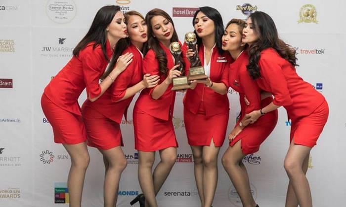 Sexy asian stewardeses, black women give white man handjob