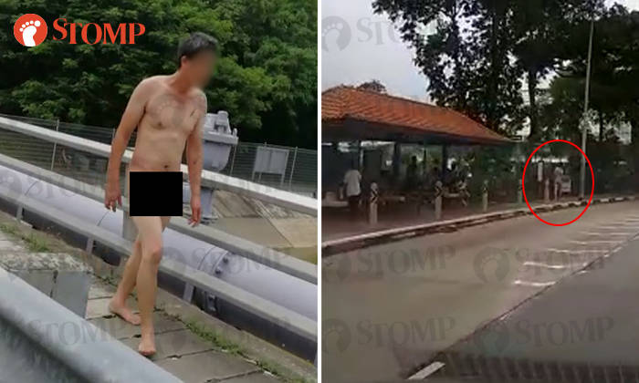 Remarkable, very Naked and nude at a bus stop speaking