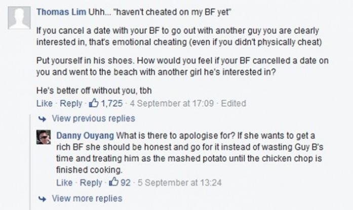 NUS student shares dilemma over rich guy chasing her and BF