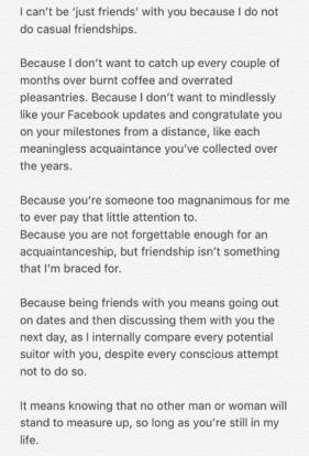 Guy talks about being 'just friends' with someone you love