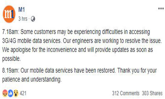 M1 customers face disruption to mobile data services - Stomp