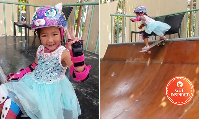Watch this talented 3-year-old skater girl drop into a 1 ...