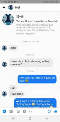 Freelance model asks photographer to shoot pics for free
